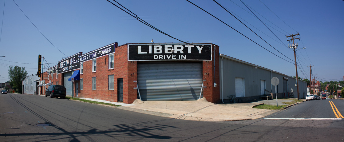 Side view of Liberty Warehouse from the street
