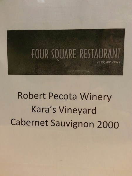 2000 Cabernet Sauvignon from Four Square Restaurant