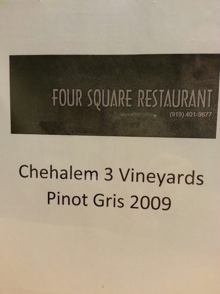 2009 Pinot Gris from Four Square Restaurant