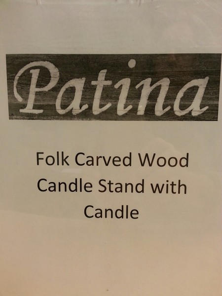 Carved Wood Candle Stand from Patina