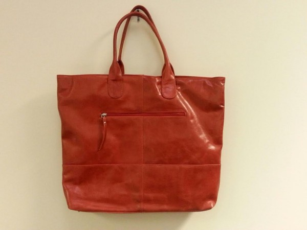 Red leather bag from Vaguely Reminiscent
