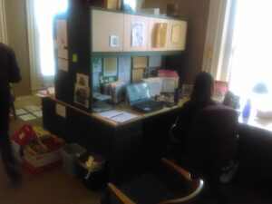 Inside the offices of the Heritage Home Program at Cleveland Restoration Society.