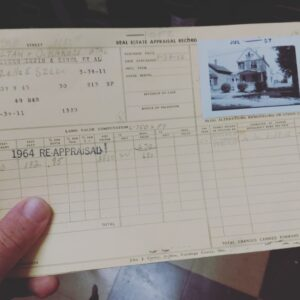 Appraiser record from 1950s on Heritage Home Program applicant's home in Detroit-Shoreway neighborhood.